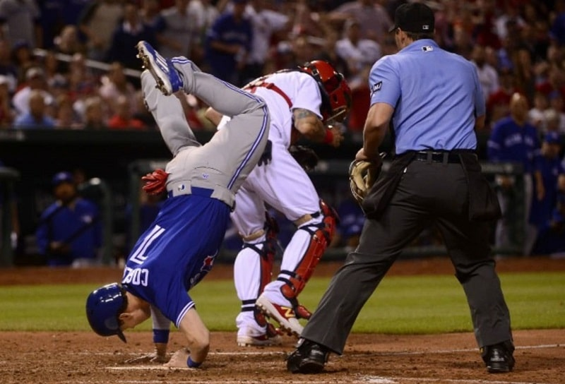 Can you jump over the catcher in baseball