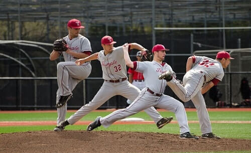 The pitcher has to tense the arm muscle at maximum level